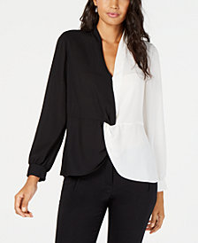 Alfani Colorblocked Twist Blouse, Created for Macy's