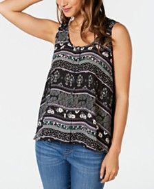1a682cc7a28 Style   Co Petite Printed Sleeveless High-Low Swing Top