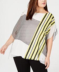 Anne Klein Plus Size Printed Poncho Top