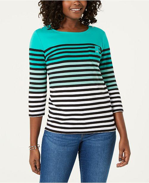 Karen Scott Striped 3/4-Sleeve Top, Created for Macy's