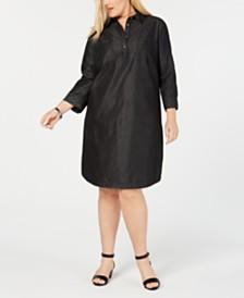Karen Scott Plus Size Cotton Shirt-Dress, Created for Macy's