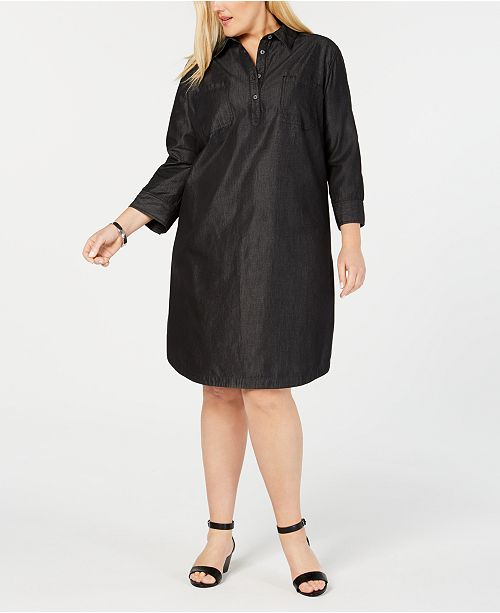 Karen Scott Plus Size Cotton Shirt-Dress, Created for Macy\'s ...