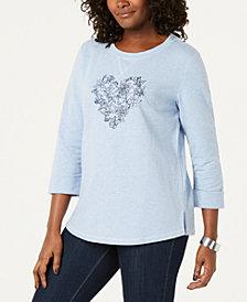 Karen Scott Petite Love Bloom Sweatshirt, Created for Macy's