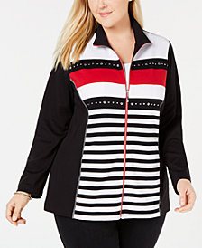 Alfred Dunner Plus Size Grand Boulevard Striped Embellished Top