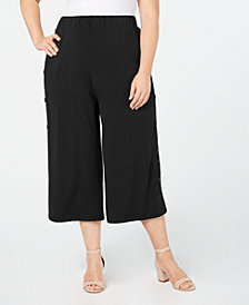 John Paul Richard Plus Size Cropped Wide-Leg Pants