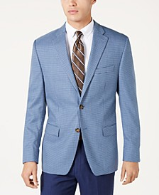 Men's Classic-Fit UltraFlex Stretch Light Blue/Navy Houndstooth Sport Coat