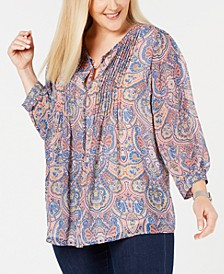 Plus Size Paisley-Print Pintucked Top, Created for Macy's