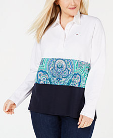 Tommy Hilfiger Plus Size Colorblocked Paisley-Print Top, Created for Macy's
