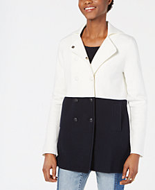 Tommy Hilfiger Colorblocked Pea Coat, Created for Macy's