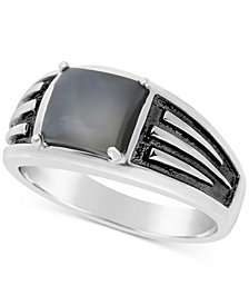 Men's Moonstone Ring in Sterling Silver