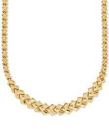 "Stampato Leaf Link 17"" Chain Necklace in 10k Gold"