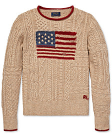 Polo Ralph Lauren Big Girls Flag Cable-Knit Sweater