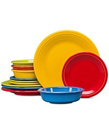 Fiesta Bright Colors 12-Pc. Classic Dinnerware Set, Service for 4