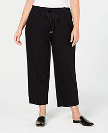 Eileen Fisher Plus Size Ponte Drawstring-Waist Ankle Pants