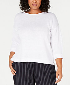 Eileen Fisher Plus Size Organic Linen Cuffed-Sleeve Top