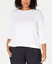 b6f05164ae6 Eileen Fisher Plus Size Organic Linen Cuffed-Sleeve Top
