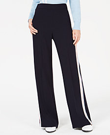 Marella Pull-On Side-Striped Pants