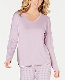 Alfani Ultra Soft Satin-Trimmed Drop Shoulder Pajama Top, Created for Macy's