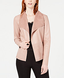 Bar III Moleskin Drape-Front Jacket, Created for Macy's