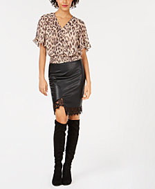 Bar III Leopard-Print Crop Top & Faux-Leather Skirt, Created for Macy's