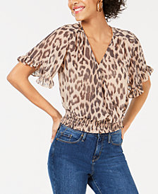 Bar III Leopard-Print Crop Top, Created for Macy's