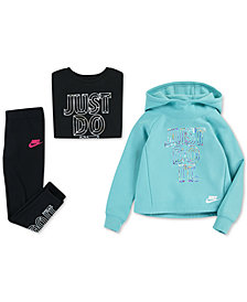 Nike Little Girls Futura Fleece Hoodie, Graphic-Print T-Shirt & Futura Leggings