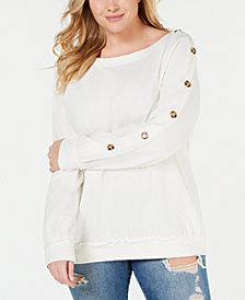 Eyeshadow Plus Size Side Button Sleeve Pullover
