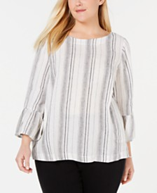 Charter Club Plus Size Striped Linen Top, Created for Macy's