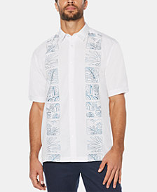 Cubavera Men's Embroidered Leaf Panel Short-Sleeve Shirt