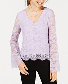 Ultra Flirt Juniors' Lace Bell-Sleeve Top