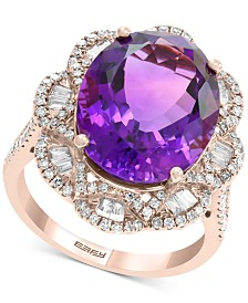 EFFY® Amethyst (8-3/8 ct. t.w.) & Diamond (9/10 ct. t.w.) Ring in 14k Rose Gold