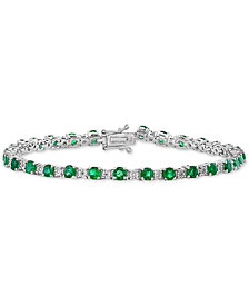 EFFY® Emerald (3-1/2 ct. t.w.) & Diamond (1/8 ct. t.w.) Link Bracelet in 14k White Gold