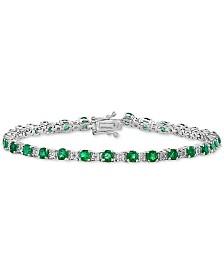 EFFY® Emerald (3-1/2 ct. t.w.) & Diamond (1/8 ct. t.w.) Link Bracelet in 14k White Gold