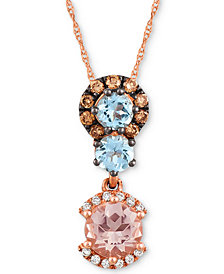 "Le Vian® Multi-Gemstone (9/10 ct. t.w.) & Diamond ( 1/4 ct. t.w.) 18"" Pendant Necklace in 14k Rose Gold"