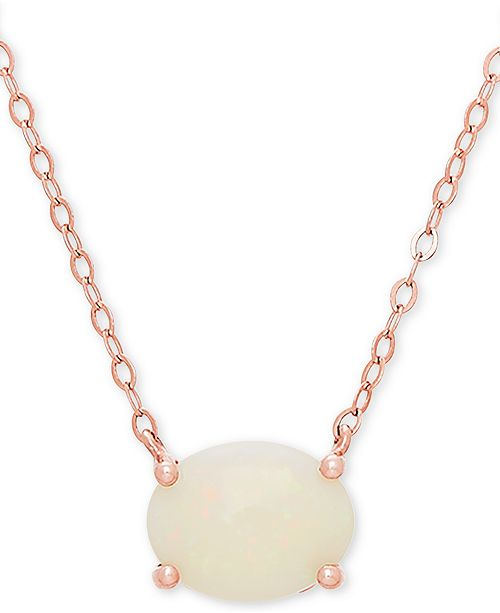 "Macy's Opal 16"" Pendant Necklace (1 ct. t.w.) in 14k Rose Gold"