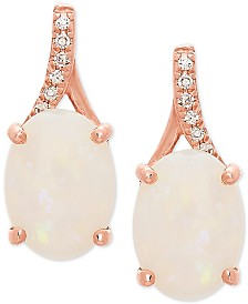 Opal (1-1/2 ct. t.w.) & Diamond Accent Drop Earrings in 14k Rose Gold