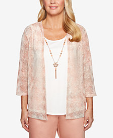 Alfred Dunner Petite Good To Go Layered-Look Necklace Top