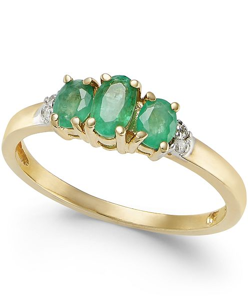 Macy's Emerald (3/4 ct. t.w.) & Diamond Accent Ring in 14k Gold