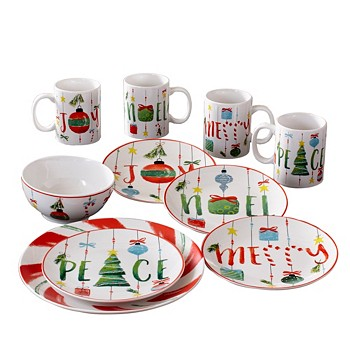 American Atelier 16 Piece Holiday Dinnerware Set