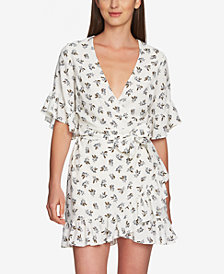 1.STATE Short-Sleeve Flounce Wrap Dress