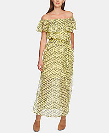 1.STATE Ruffly Off-The-Shoulder Maxi Dress