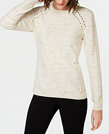I.N.C. Casual Raglan Lace-Up Sweater, Created for Macy's