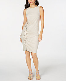 I.N.C. Petite Side-Ruffle Sheath Dress, Created for Macy's