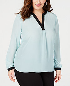 I.N.C. Plus Size Colorblocked Top, Created for Macy's