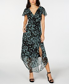 I.N.C. Flutter-Sleeve Ruched Maxi Dress, Created for Macy's