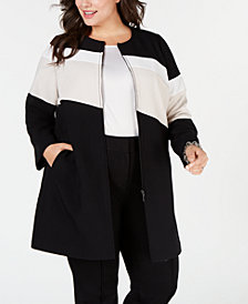 Alfani Plus Size Colorblocked A-Line Jacket, Created for Macy's