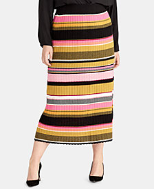 RACHEL Rachel Roy Trendy Plus Size Kennedy Stripe Midi Skirt, Created for Macy's