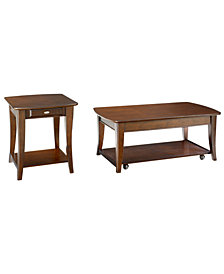 Quinn Table Collection, 2 Piece Set (Rectangular Coffee Table and End Table)