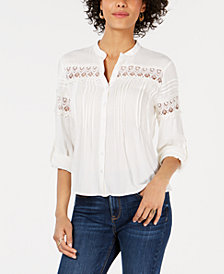 American Rag Juniors' Pintucked Crochet Blouse, Created for Macy's