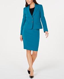 Le Suit Seamed-Blazer Skirt Suit